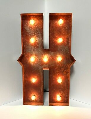 "New Rusted Metal Letters Light Marquee: Sign Wall Decoration 24"" Vintage"