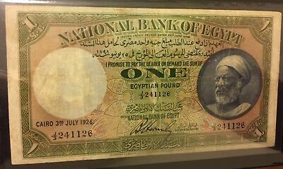 Egyptian Banknotes Farmer 1 LE by Horns Bay, 1926 good condition