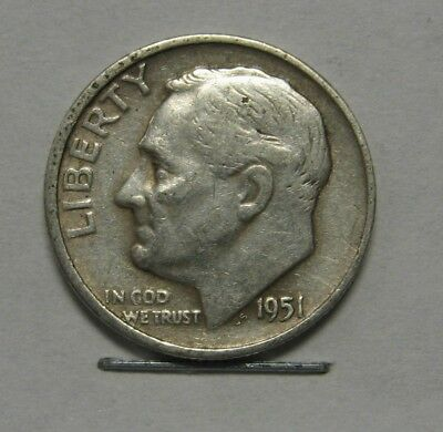 Nice 1951-S Silver Roosevelt Dime in Average Circulated Condition   DUTCH