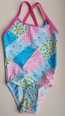 ZOGGS baby girl 12-18 months pink blue patchwork one piece swimming costume NEW
