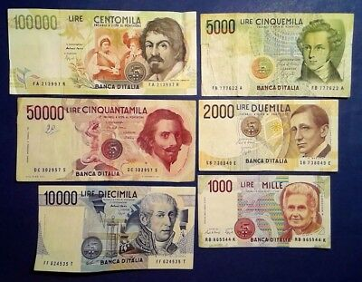 ITALY: Set of 6 Lira Banknotes Very Fine Condition