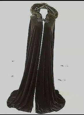 Velvet Gothic Medieval Witch Victorian Vampire Cloak Cape with Hood