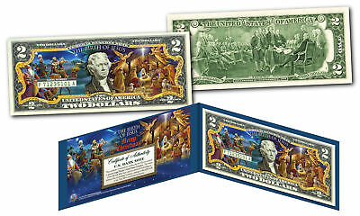 BIRTH OF JESUS Merry XMAS 3 Wise Men Nativity Genuine Legal Tender U.S. $2 Bill