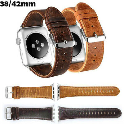 Apple Watch Band 38mm 42mm Genuine Leather iWatch Wrist Replacement Strap 1 2 3