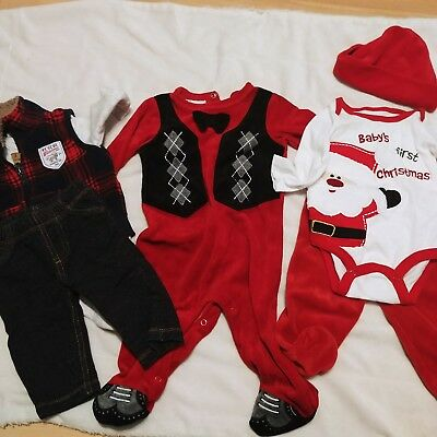 Baby boy 3/6 3 months fall winter clothes outfit lot First Christmas Holiday