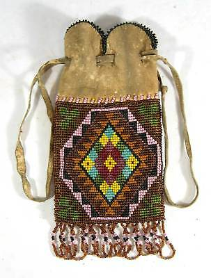 1880s NATIVE AMERICAN GREAT LAKES INDIAN BEAD DECORATED HIDE POSSIBLE BAG CREE