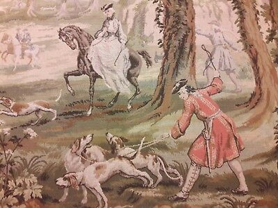 "Large antique hunting scene tapestry 73""x50"" inch"