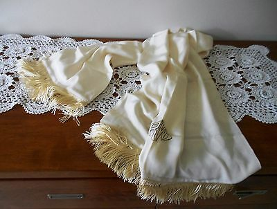 Vintage Art Deco Monogrammed Silk Scarf With Fringe Rw Initials Champagne Colour