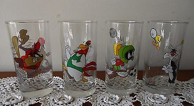 Set Of 4 X 1997 Looney Tunes Ixl Collectables Glasses Marvin Martian Sylvester