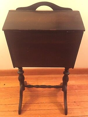 Vintage Wood Wooden Mahogany Standing Sewing Box Chest Cabinet Antique