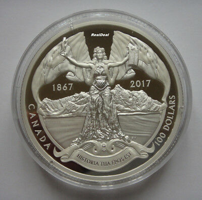 2017 Canada $100 The 150th Anniversary Of Canadian Confederation. 10 oz. Silver