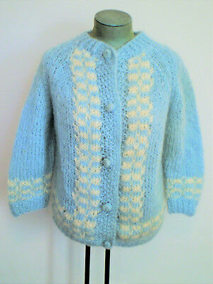 Vintage Never Worn 1960s Hand Knit Italian MOHAIR Cardigan SWEATER Baby BLUE M