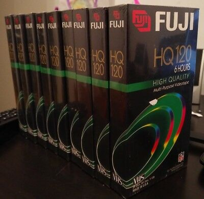 Lot of 9 Blank VHS Tapes FUJI HQ T-120 (NEW SEALED)