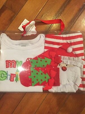 """Mud Pie Baby Girl 0/6 Months """"My 1St Christmas"""" 3 Piece Outfit Set New In Box"""