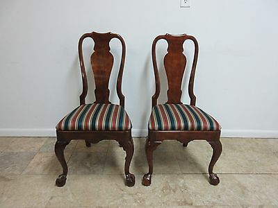 Pair Henredon Mahogany Salem Collection Ball Claw Chippendale Dining Chairs  B