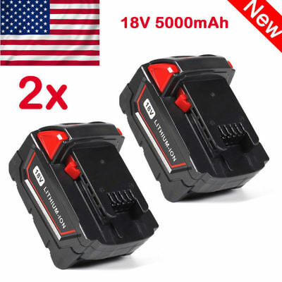 2PK 18V 5000mAh Lithium-ion Battery For Milwaukee M18 M18B 48-11-1822 48-11-1828