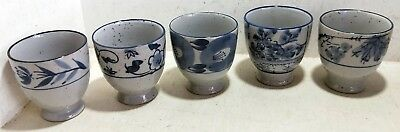 5 Ceramic Japanese Yunomi Green Tea Cups,  Blue on Grey, Footed  (6552)