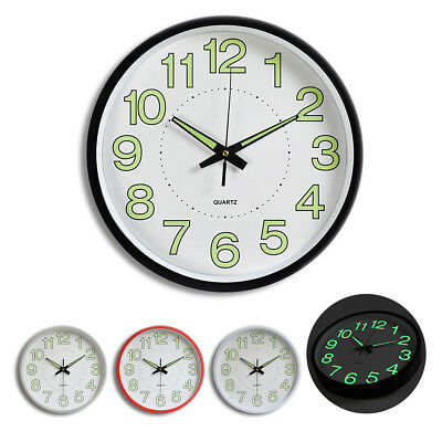 12'' Wall Clock Glow In The Dark Silent Quartz Indoor/Outdoor white Noctilucent