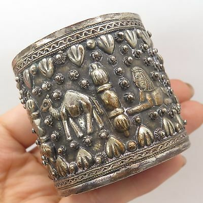 Antique Egypt 800 Silver Ancient Egyptian Design Cylindrical Cup