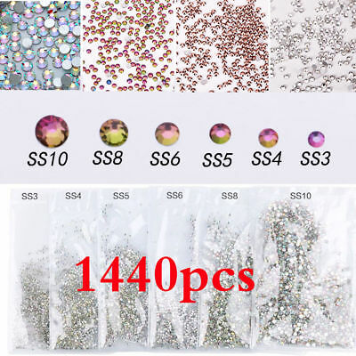 1440 Super Shiny AB & White Austrian Crystal 3D Non-HotFix Nail Art Decorations