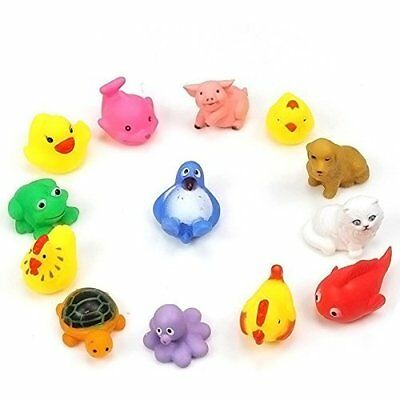 13pcs Animals Toys Rubber Baby Bath Soft Sound New Lovely Float Kid Sqeeze