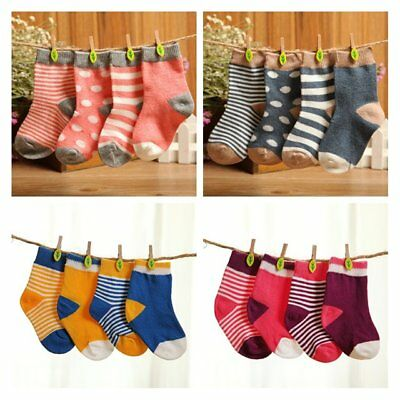 4 Pairs Baby Boy Girl Lovely Cotton Socks NewBorn Infant Toddler Kids Soft Sock