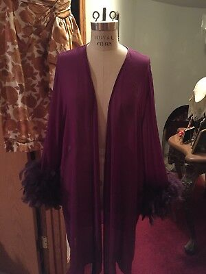 Vintage Silk Playboy Bunny Logo Purple Violet Robe With Feather Trimmed Cuffs