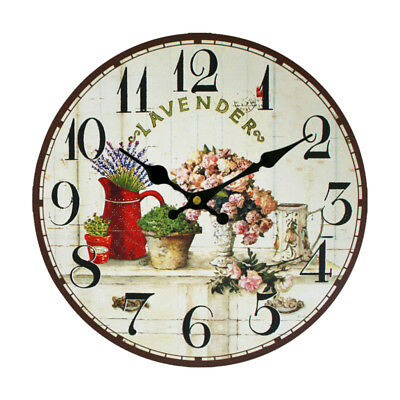 Vintage Wooden Wall Clock Large Shabby Chic Retro Home Kitchen Decor Crafts