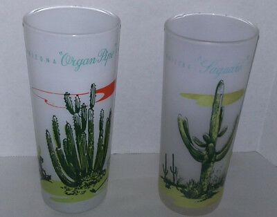 Vintage Blakely Oil Gas Arizona Cactus Frosted Glasses Tumblers Drink Set 2 Tall