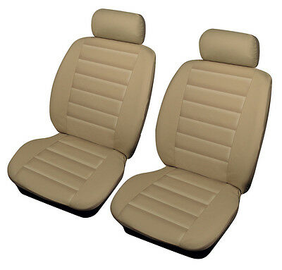 JAGUAR X TYPE (01+) Automatic (4 X RINGS)  BEIGE LEATHER LOOK FRONT SEAT COVERS
