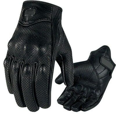 Cool Men Black Perforated Pursuit Street Stealth Leather Motorcycle Glove M/L/XL