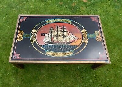 Vintage Invincible Matches Glass Panelled Topped Low Pub Table with Brass Inlay.