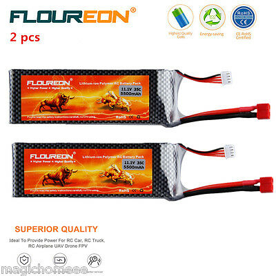 2x 3S 35C 11.1V 5500mAh Lipo Battery Deans for RC Helicopter Airplane Car Hobby