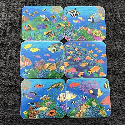 """6pc GREAT BARRIER REEF """"Blue"""" Tropical Fish Decorative Wooden Drink Coaster Set"""