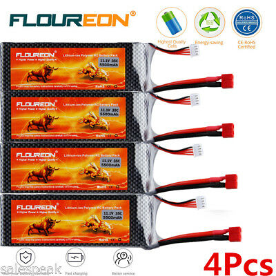 4x 3S 11.1V 5500mAh 35C Deans LiPo Battery Pack for RC Airplane Helicopter Hobby