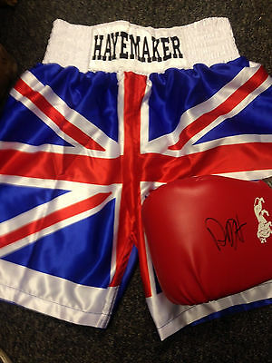 David Haye Hand Signed Glove with coa and unsigned Trunks Bellew v Haye 2