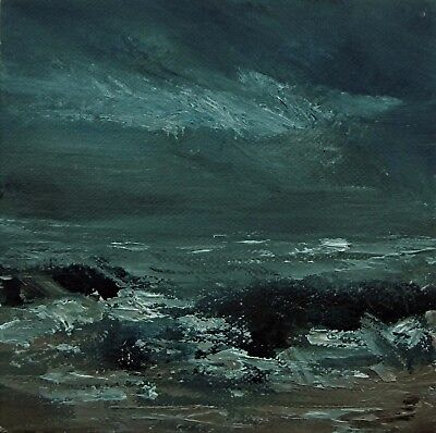Original Oil Seascape Canvas Signed Impressionist Dark Stormy Waves Painting