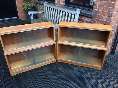 2 Minty Light Oak Bookcase Stacking Sectional Art Deco cabinet bookshelves