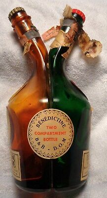 VINTAGE Benedictine France B&B D.O.M Two Compartment Two Neck Empty Bottle 1960