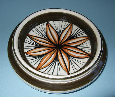 Vintage 1970's Jersey Pottery Brown Retro Flower Small Dish Pintray