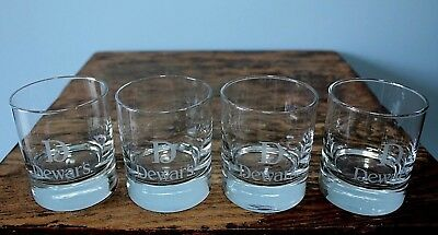 """Set of 4 Dewar's Blended Scotch Whisky Glasses 3.25"""" tall; weighted bottom"""
