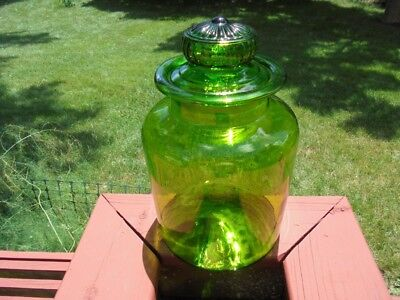 Extra Large Vintage Green Blown Glass Apothecary Jar Canister Daisy Lid 12 3/4""