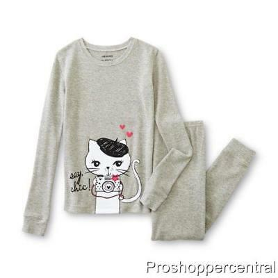 NEW Joe Boxer Girls Thermal Underwear Set-Gray with Cat-Choose Your Size