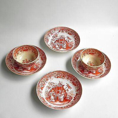 Set of 2 Cups And 4 Saucers Antique Chinese Export Red Transferware