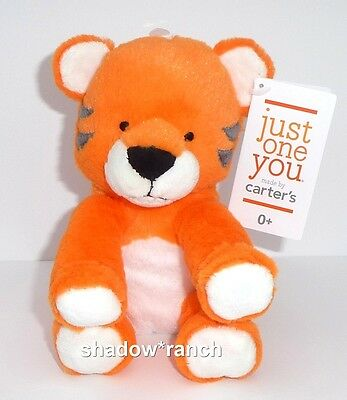 NWT Carters Just One You Orange Tiger Plush Target Stuffed Lovey Rattle Toy NEW