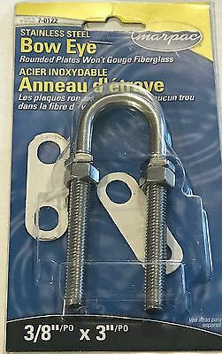 """3/8"""" x 3"""" Stainless Steel Boat Stern Bow Eye, Marpac Brand 7-0122"""