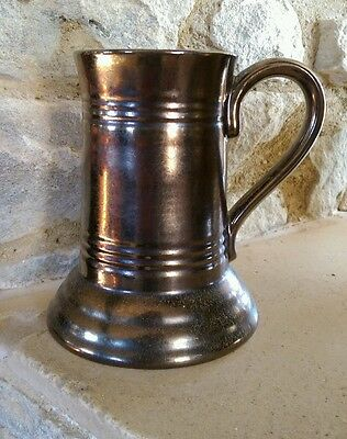 prinknash pottery fabulous large tankard  metallic crackle glaze