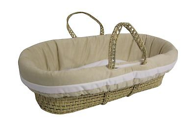 Baby Doll Bedding Suede Hotel Moses Basket Set Ivory/White