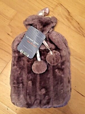 Hot water bottle with lavender faux fur cover, new in bag, ideal christmas gift