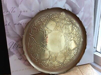 Vintage Brass Art Nouveau Drinks Tray. 14.25""